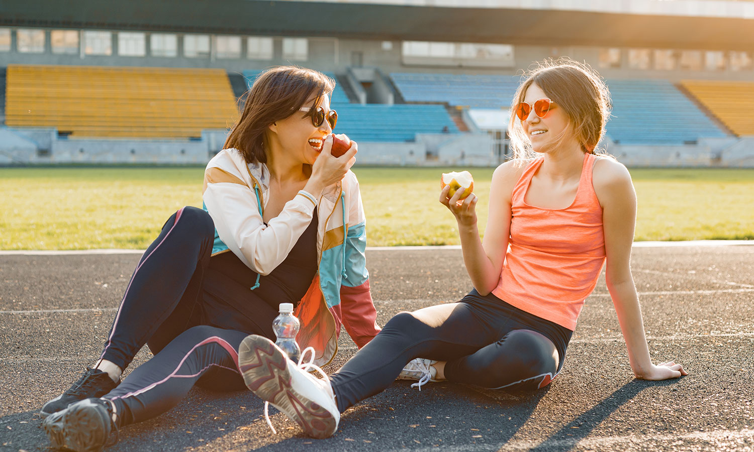 Women eating after exercise